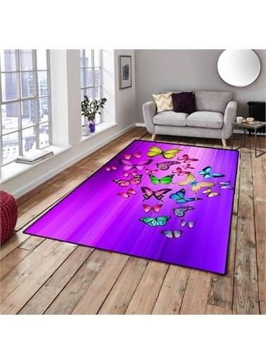Halı Kelebekler Mor Dekoratif Modern 3D Salon Halıları 80X150Cm Renkli